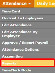 "Go to the ""Reports"" page under the ""Attendance"" Tab."
