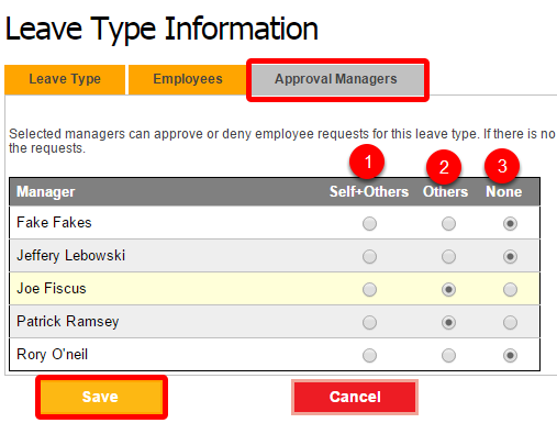 Choose which managers can approve this leave type