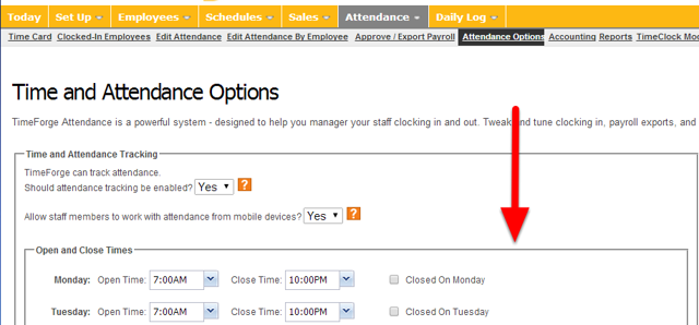 Scroll down to employee timecard option.