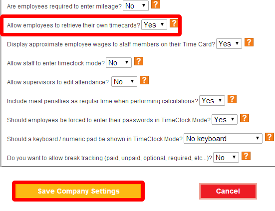 Select employee timecard option.