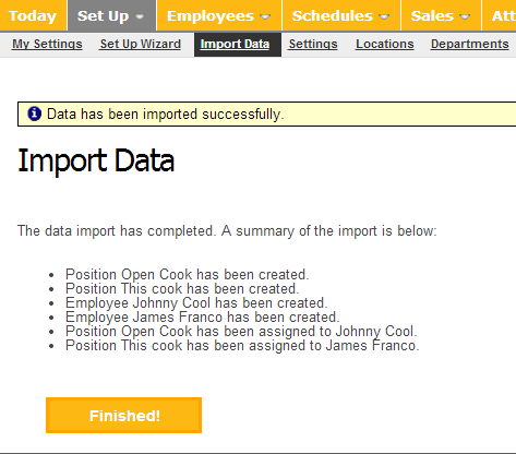 Review the imported data.