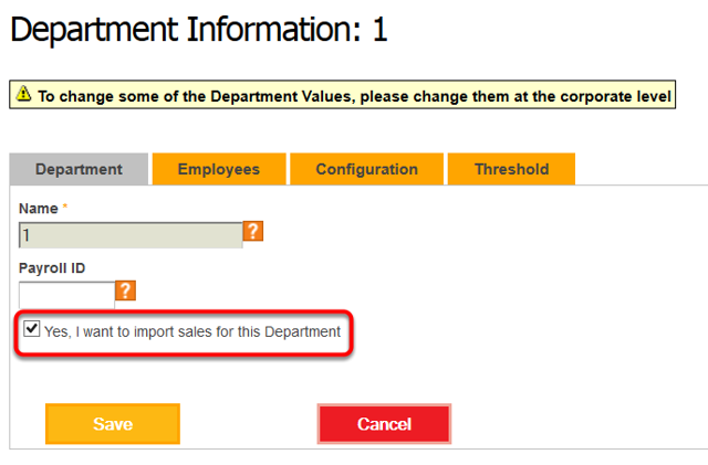 If using Departments, specify which departments can have data imported.