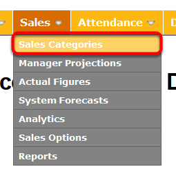 "Navigate to the ""Sales Categories"" page."
