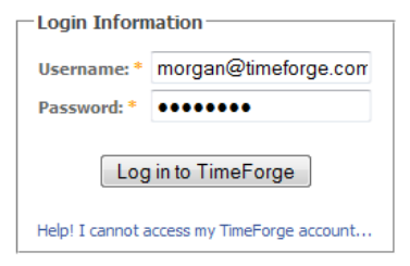 Log in to TimeForge.