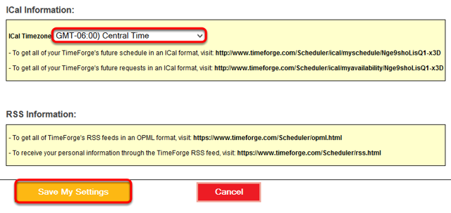 Choose a time zone in the ICal Information box.