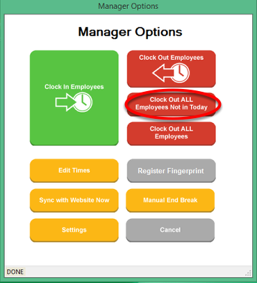 Manager Options - Clock out ALL Employees Not in Today