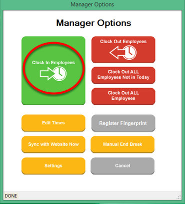 Manager Options - Manually Clocking IN an Employee