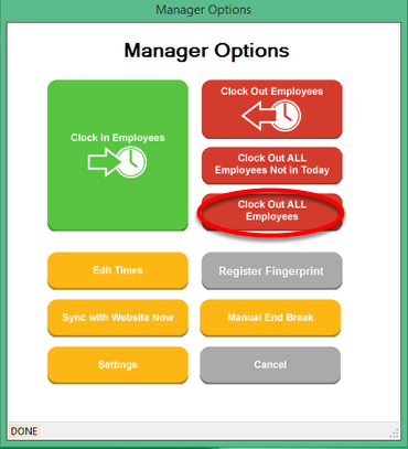 Manager Options - Clock Out ALL Employees