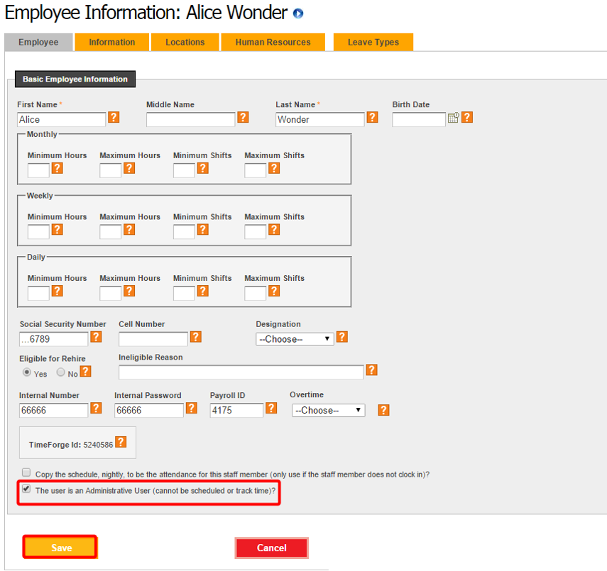 "Find the ""Administrative User"" check box"