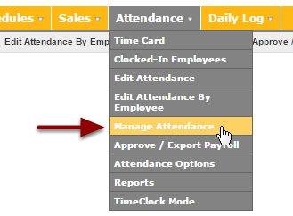 """Navigate to the """"Manage Attendance"""" page"""