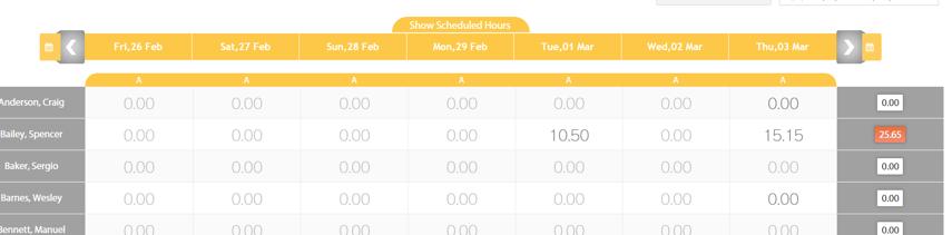 Show/Hide Scheduled Hours
