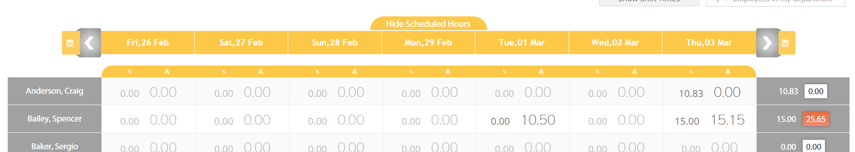 Changing the Week in Manage Attendance