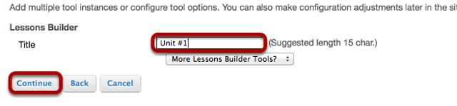 Enter a Lesson title and click Continue.