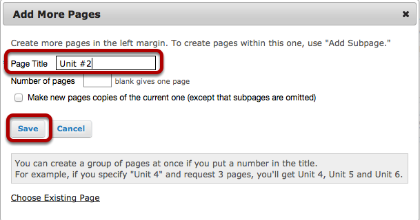 Enter a new page title, than click Save.