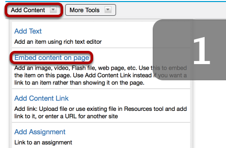 Method 1 (File upload): Click Add Content / Embed content on page