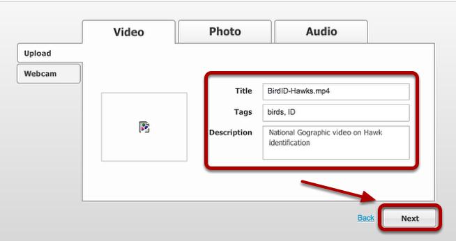 Add title, tags, description and click Next