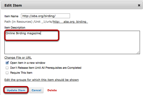 Enter a description for the web page, then click Update Item.