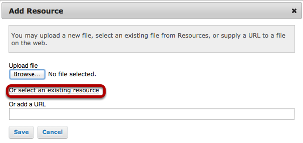"Click on ""Select an Existing Resource""."