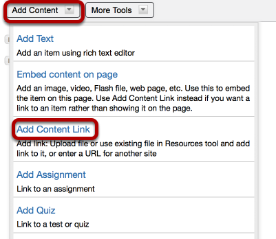 To upload a file, click Add Content / Add Content Link.