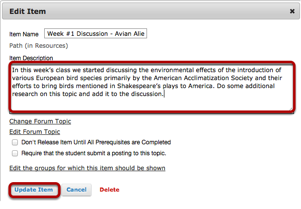 Add a description for the topic, then click Update Item.