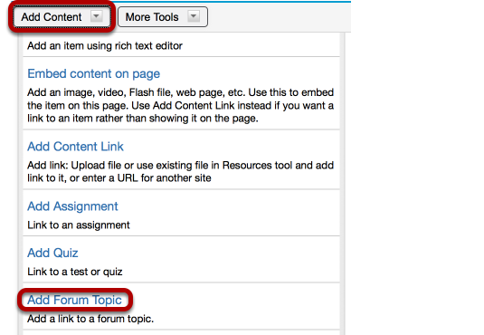 To add a forum topic, click Add Content / Add Forum Topic.
