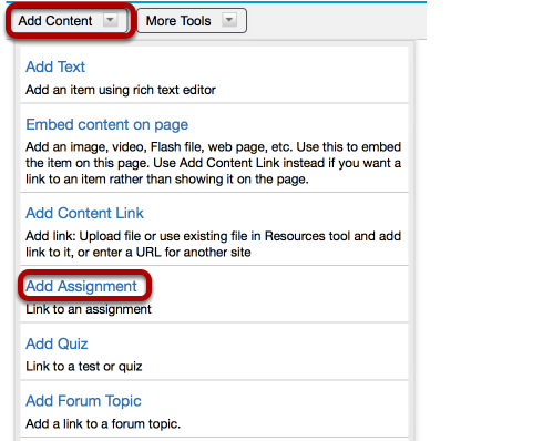 To add an assignment, click Add Content / Add Assignment.