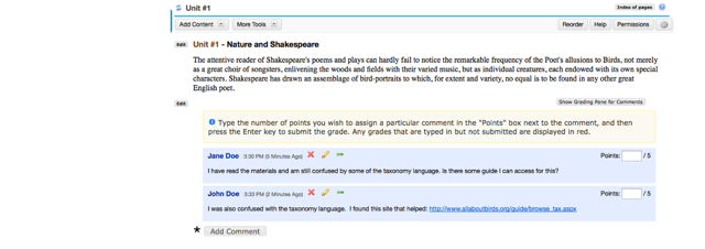 Example of student comments from an instructor's view.