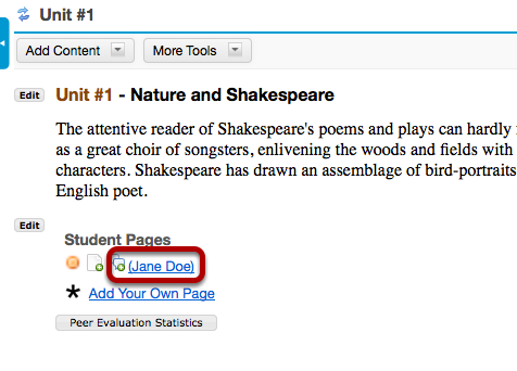 To view a student's page, click on the student's name.