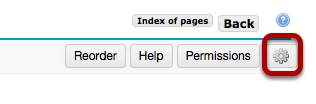 To edit the title and properties of a subpage, click on the Settings icon.