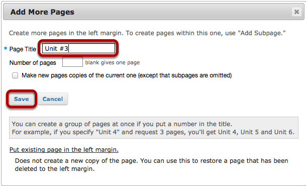 Add a page title, then click Save.