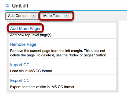 Method #2: On an existing top-level page, click More Tools / Add More Pages.