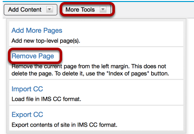 Click More Tools / Remove Page.