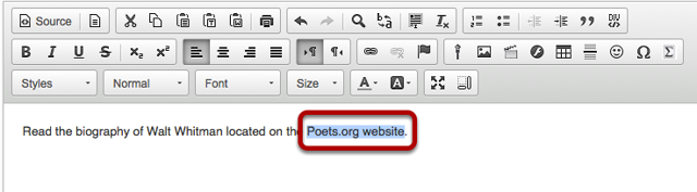 In the text box, select the text you would like to serve as a link to a web site.