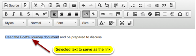 In the text box, select the text you would like to serve as a link to the folder or file.