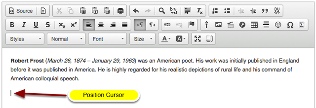 Position your cursor in the text box at the point you want to embed the image.