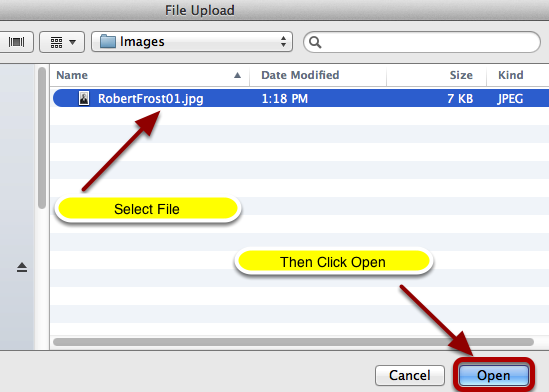 Locate and select the image file on your computer, then click Open