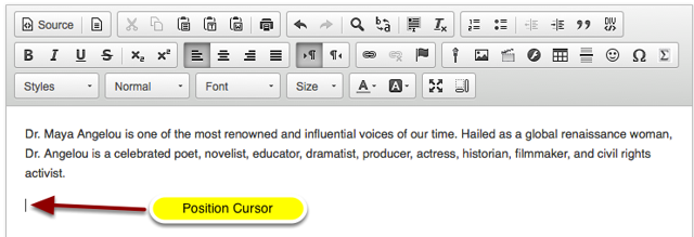 Position your cursor in the text box at the point you want to embed the web linked image.