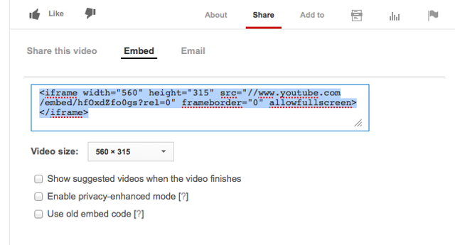 Copy the YouTube embed code to your computer's clipboard (CTRL-C - PC or COMMAND-C MAC).