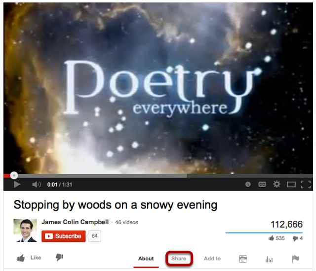 Locate the Youtube video you would like to embed in a text box. Click Share.