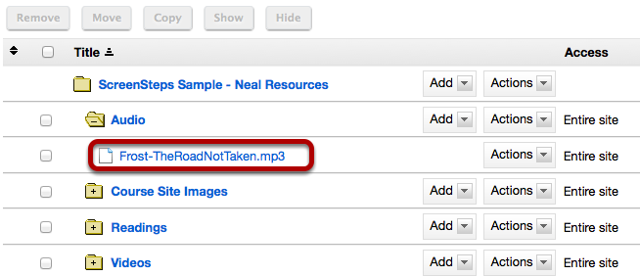 Upload the mp3 file you want to embed in a text box to a folder in your Resources.