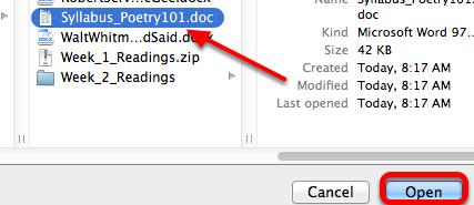 Locate the file to attach, then click Open