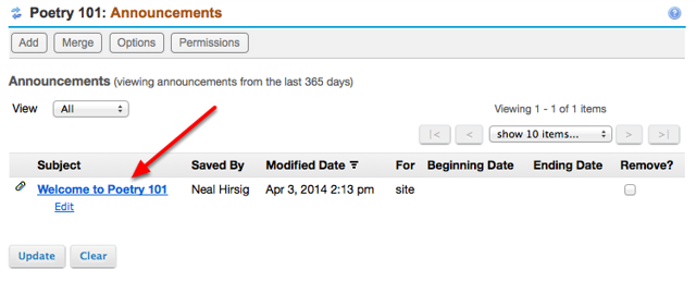 Example of Announcement listed in site Announcements tool.