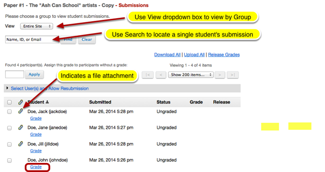 Under the student's name, click Grade.
