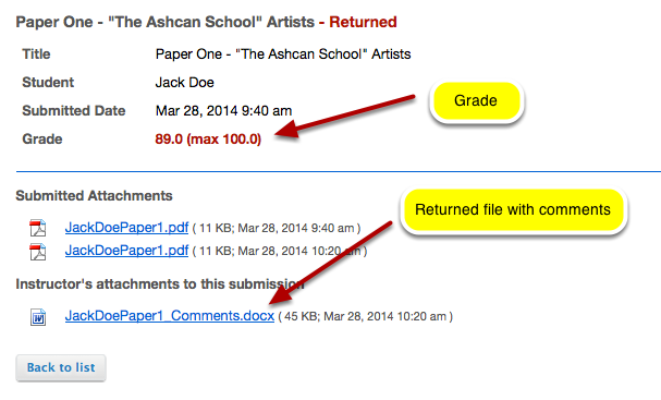 Example of student view of returned files: