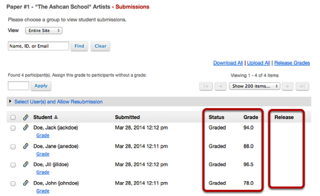 Example: Submission page with unreleased grades: