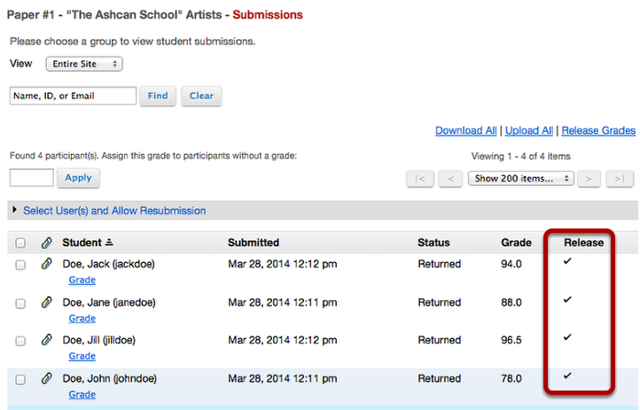 Example of Assignment Submission list after grades are released.