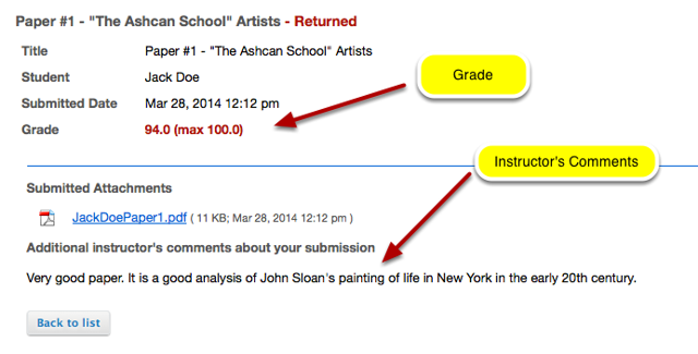 Example - How a student sees the grade /feedback in Assignment tool: