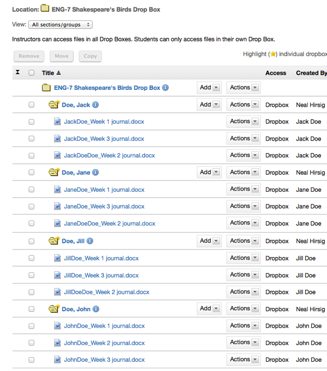 Example of Dropbox tool with student files.