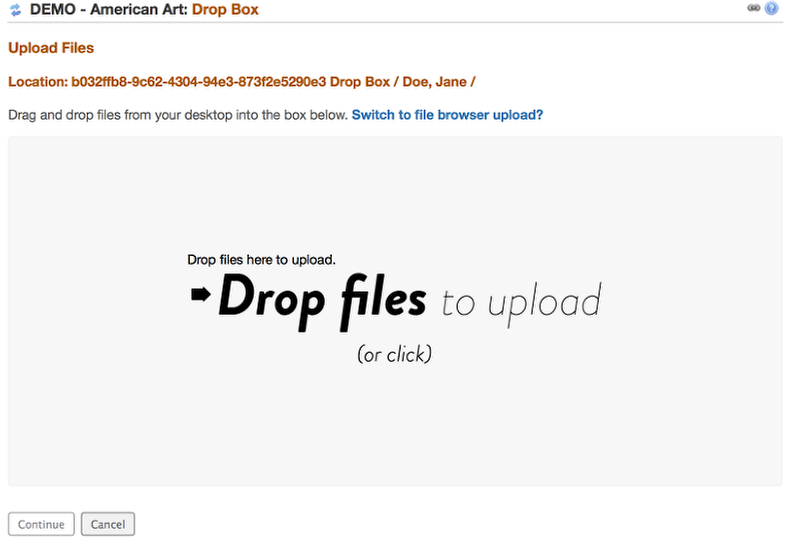 """Drag and Drop file(s) to the """"Drop Files"""" box OR click in the """"Drop Files"""" box to display your computer's file locator"""