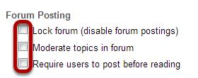 Select forum posting options.